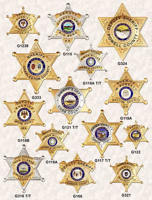 6 Point Star Badges ga-rel police badges