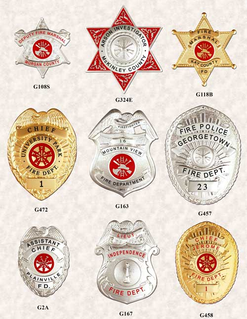 FIRE DEPT BADGES GAREL