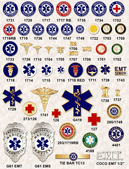 EMT badges seals nursing pins